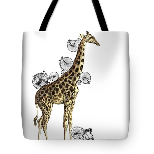 Giraffe And Bicycles Tote Bag