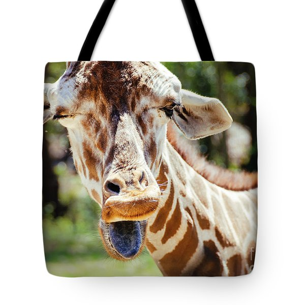 Tote Bag featuring the photograph Giraffe by Andrea Anderegg