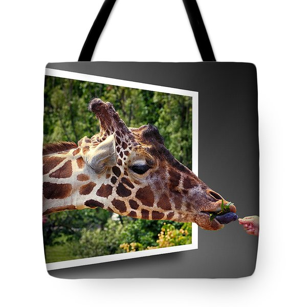 Giraffe Feeding Out Of Frame Tote Bag