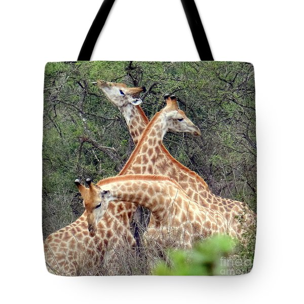 Giraffe Flirting Tote Bag