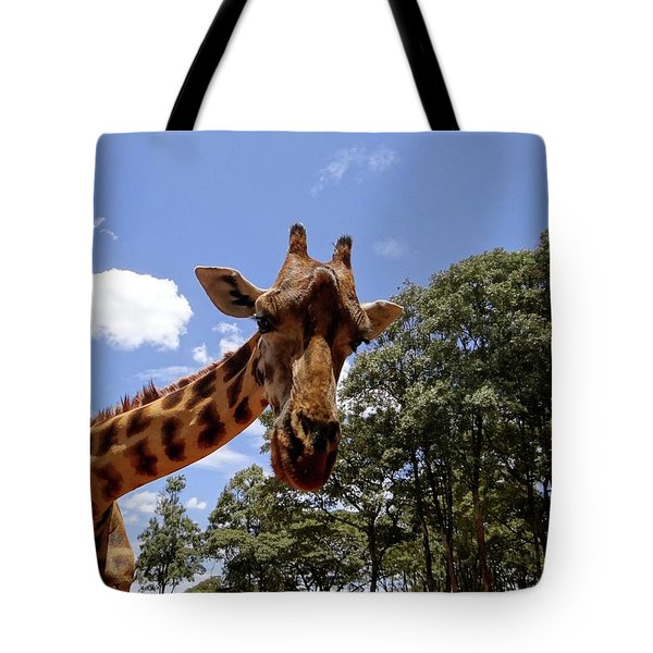 Giraffe Getting Personal 4 Tote Bag