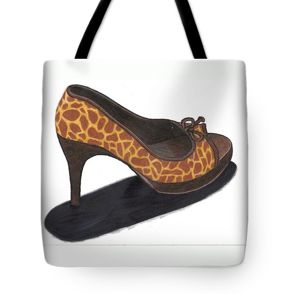 Tote Bag featuring the drawing Giraffe Heels by Jean Haynes