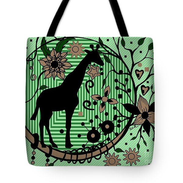Tote Bag featuring the drawing Giraffe Illustration by Saribelle Rodriguez