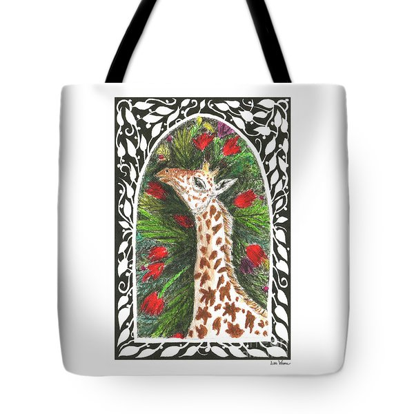 Tote Bag featuring the painting Giraffe In Archway by Lise Winne