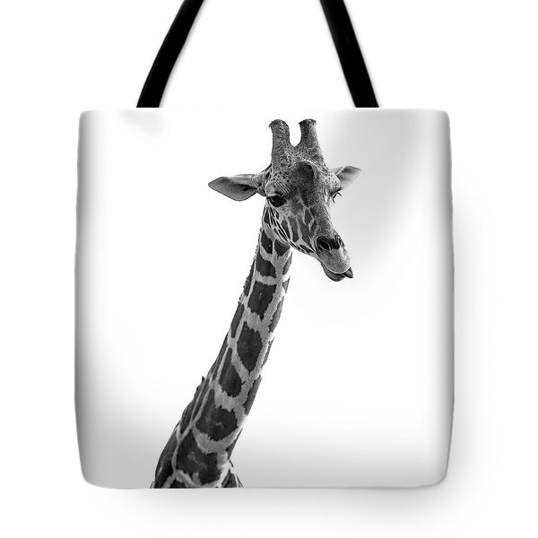 Tote Bag featuring the photograph Giraffe In Black And White 3 by James Sage