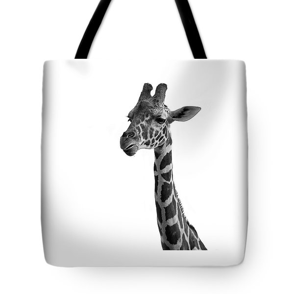 Tote Bag featuring the photograph Giraffe In Black And White by James Sage
