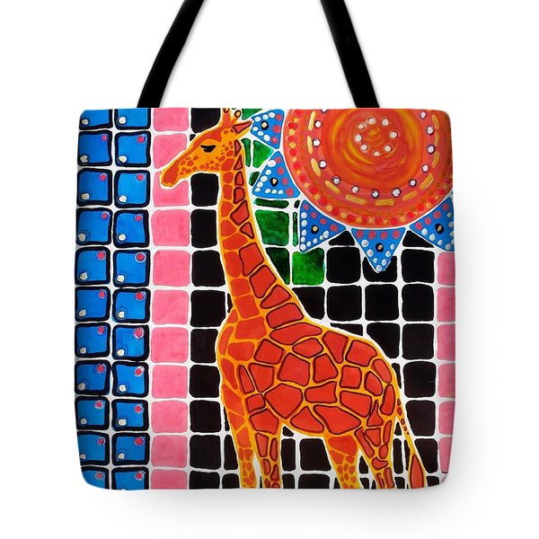 Tote Bag featuring the painting Giraffe In The Bathroom - Art By Dora Hathazi Mendes by Dora Hathazi Mendes