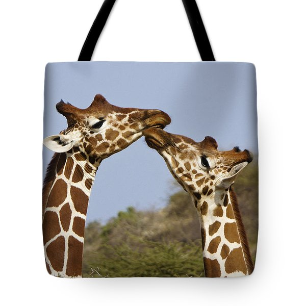 Giraffe Kisses Tote Bag by Michele Burgess