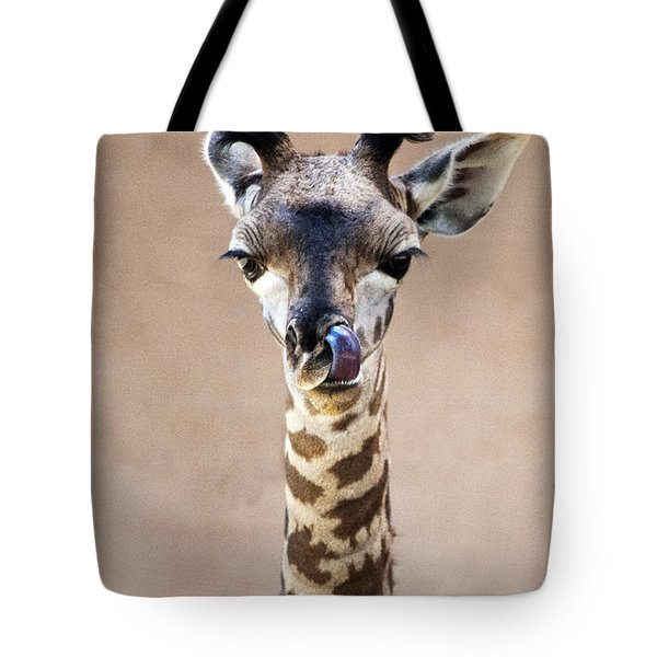 Tote Bag featuring the photograph Giraffe Lick by Lula Adams