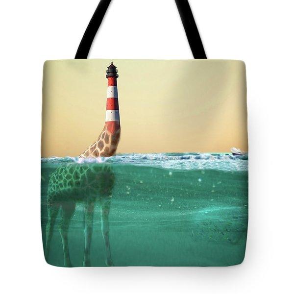 Giraffe Lighthouse Tote Bag