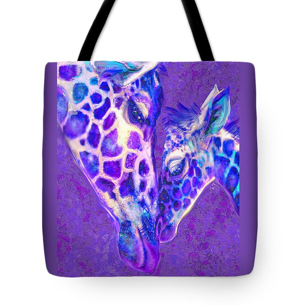 Tote Bag featuring the digital art Giraffe Love 515 by Jane Schnetlage