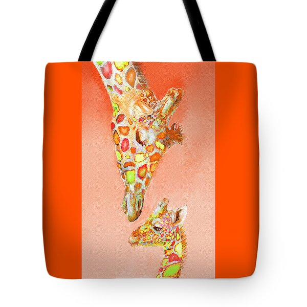 Tote Bag featuring the digital art Giraffe Love- Orange by Jane Schnetlage
