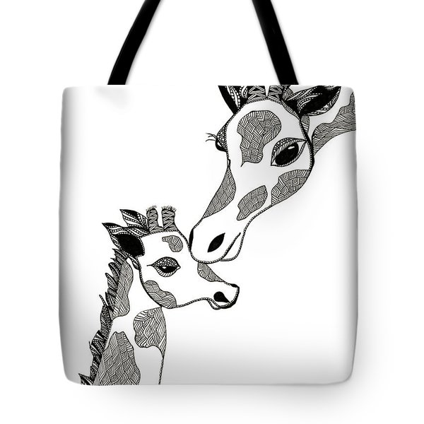 Giraffe Mom And Baby Tote Bag