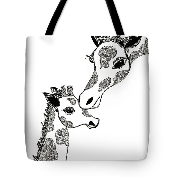 Giraffe Mom And Baby Tote Bag