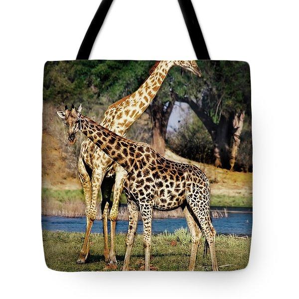 Giraffe Mother And Calf Tote Bag