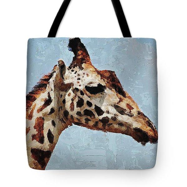 Tote Bag featuring the digital art Giraffe Safari  by PixBreak Art
