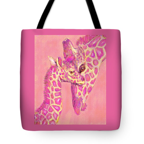 Tote Bag featuring the digital art Giraffe Shades- Pink by Jane Schnetlage