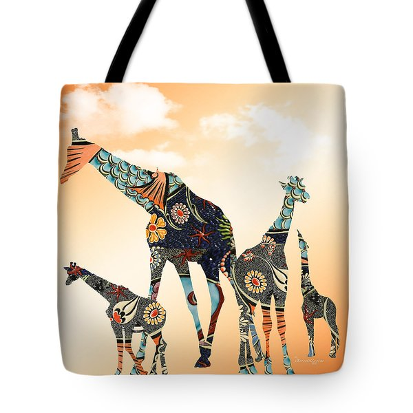 Tote Bag featuring the digital art Giraffe Stroll by Ericamaxine Price