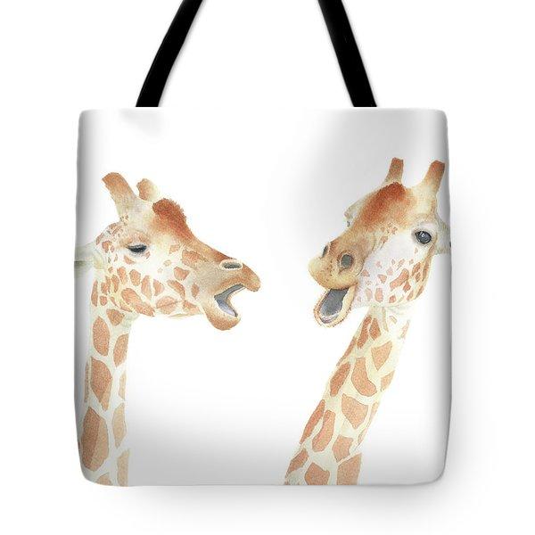 Tote Bag featuring the painting Giraffe Watercolor by Taylan Apukovska