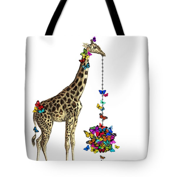 Giraffe With Colorful Rainbow Butterflies Tote Bag