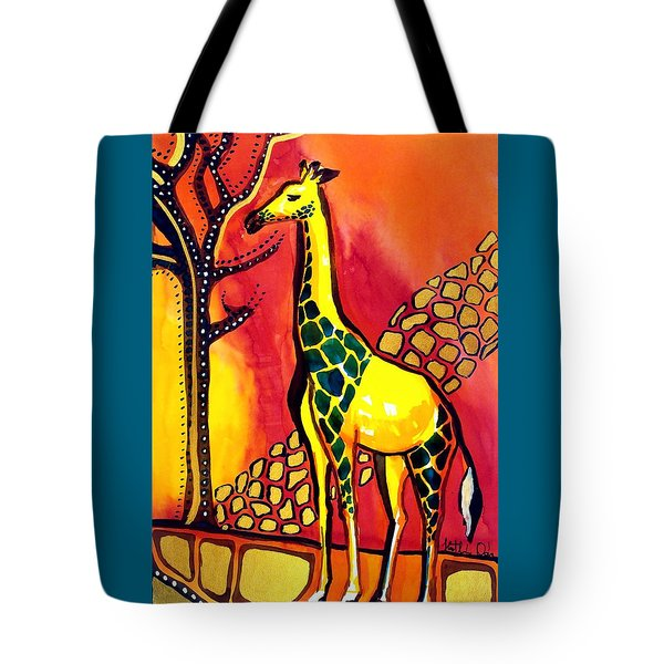 Giraffe With Fire  Tote Bag by Dora Hathazi Mendes