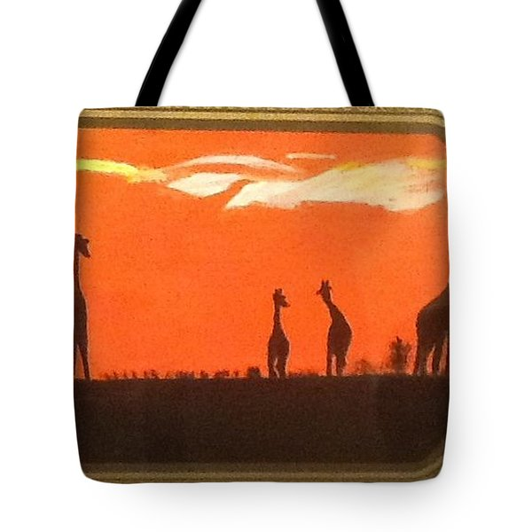 Tote Bag featuring the painting Giraffes by Audrey Pollitt