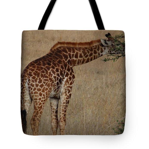 Giraffes Eating - Side View Tote Bag