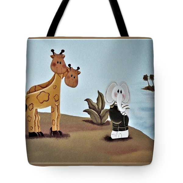 Giraffes, Elephants And Palm Trees Tote Bag