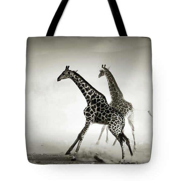 Giraffes Fleeing Tote Bag