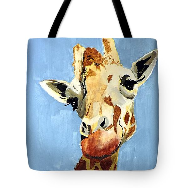 Tote Bag featuring the painting Girard Giraffe by Tom Riggs