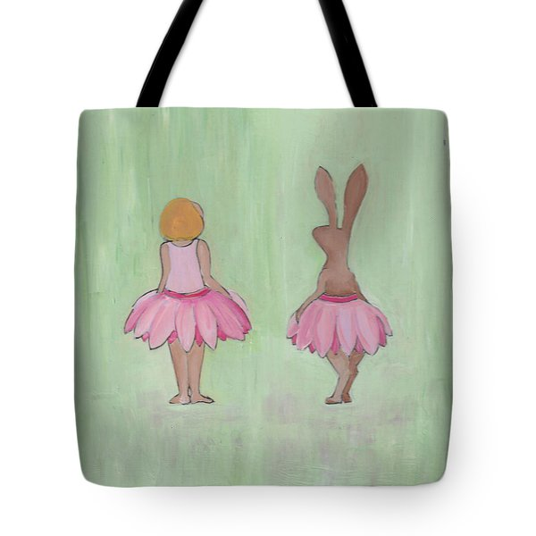 Girl And Bunny In Pink Tutus Tote Bag