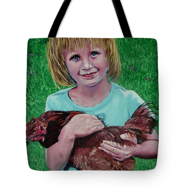 Girl And Chicken Tote Bag