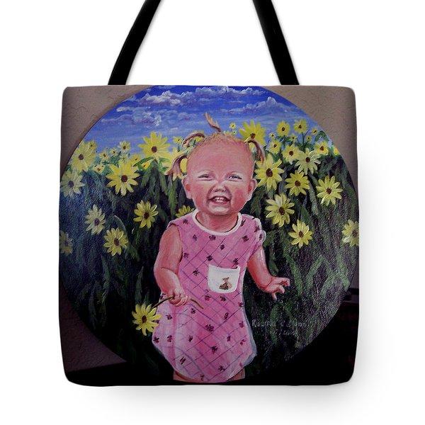 Girl And Daisies Tote Bag