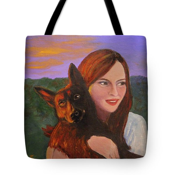 Girl And Her Dog Tote Bag