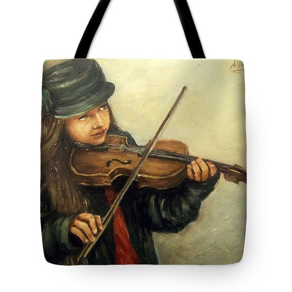 Girl And Her Violin Tote Bag