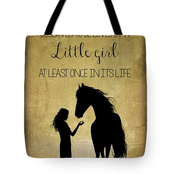 Girl And Horse Silhouette Tote Bag