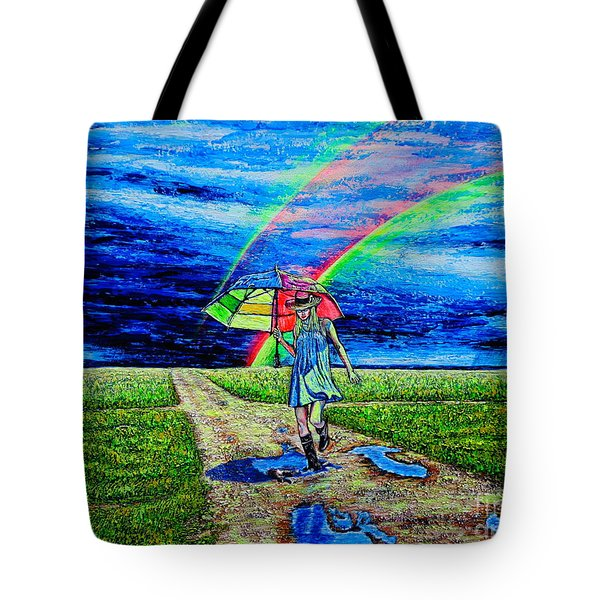Tote Bag featuring the painting Girl And Puddle by Viktor Lazarev