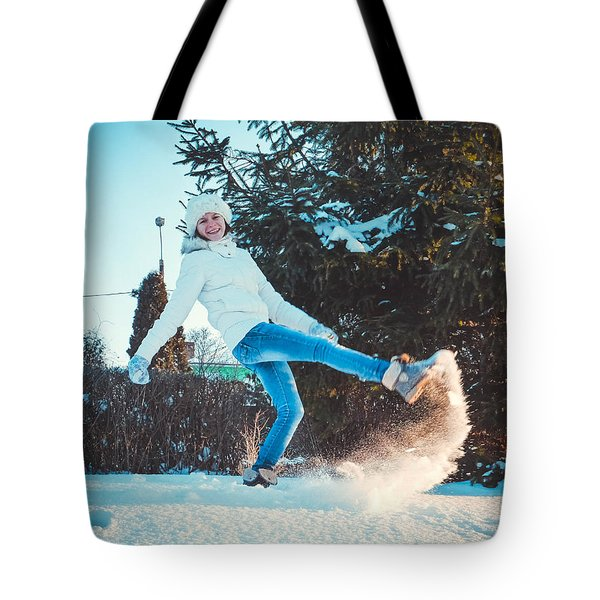 Girl And Snow Tote Bag