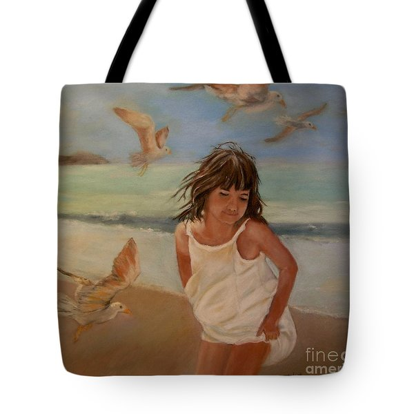 Girl And The Seagulls Tote Bag by Ceci Watson