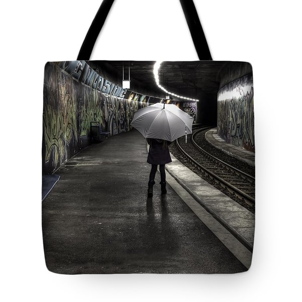 Girl At Subway Station Tote Bag