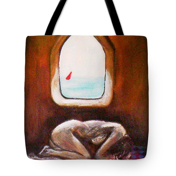 Tote Bag featuring the painting Girl At The Beach by Winsome Gunning