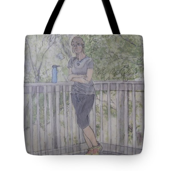 Girl At The Mountain Top Tote Bag