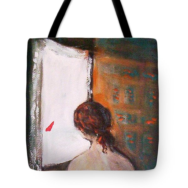 Tote Bag featuring the painting Girl At The Window by Winsome Gunning