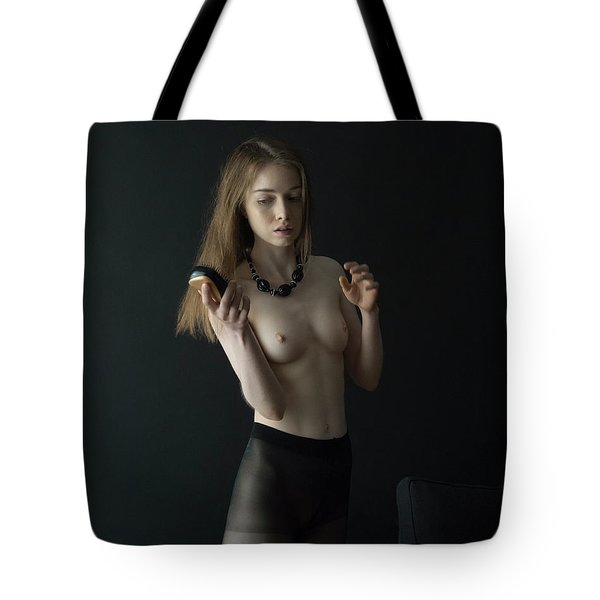 Girl Brushes Her Hair Tote Bag
