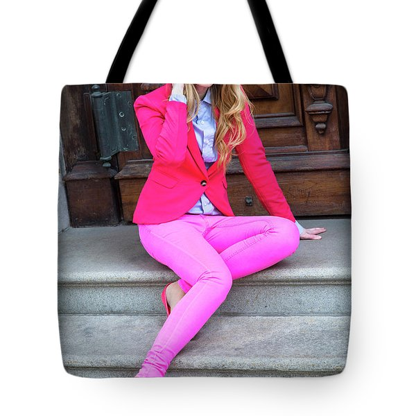Girl Dressing In Pink Tote Bag