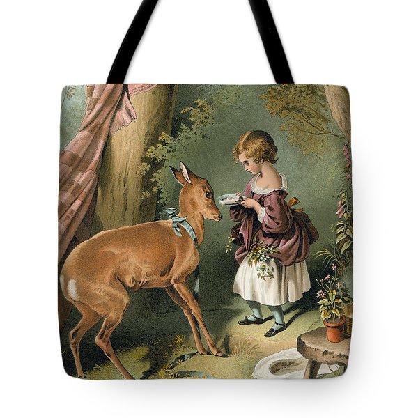 Girl Feeding A Deer Tote Bag