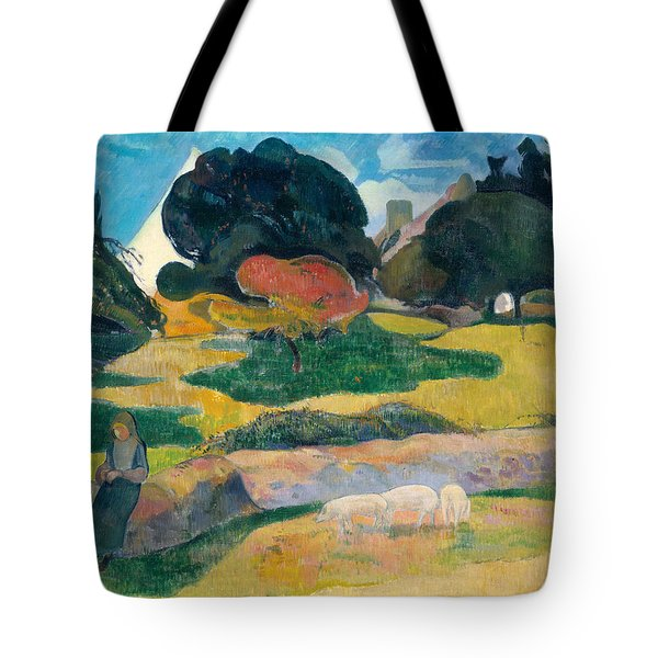 Girl Herding Pigs Tote Bag