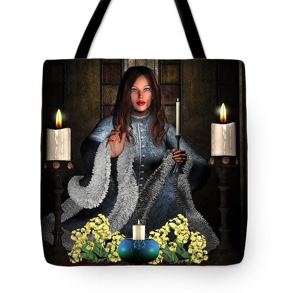 Girl Holding Candle Tote Bag