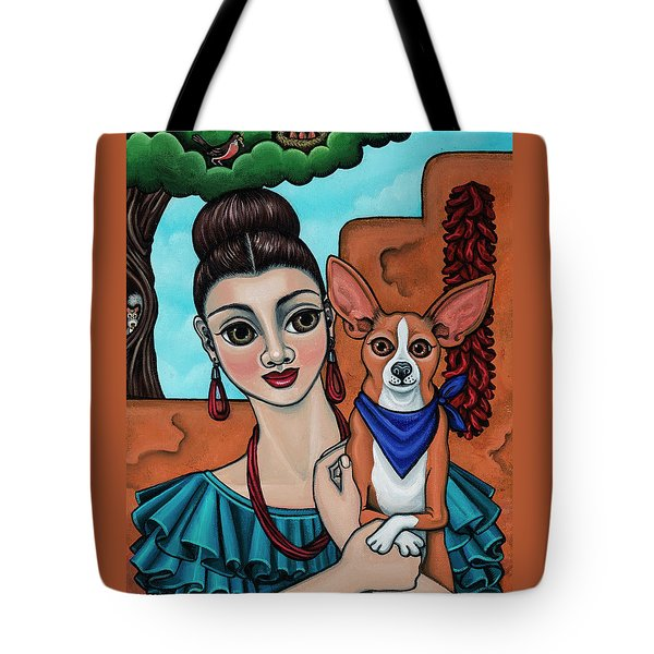 Girl Holding Chihuahua Art Dog Painting  Tote Bag
