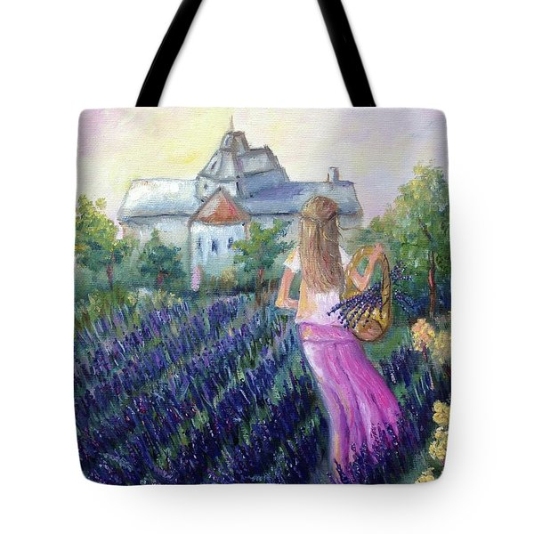 Girl In A Lavender Field  Tote Bag